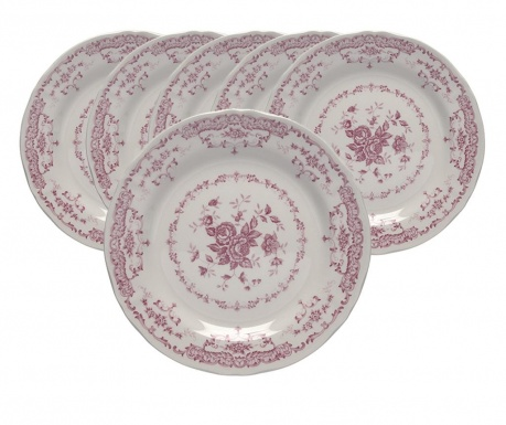 Set 6 tanjura za desert Rose Style Pink