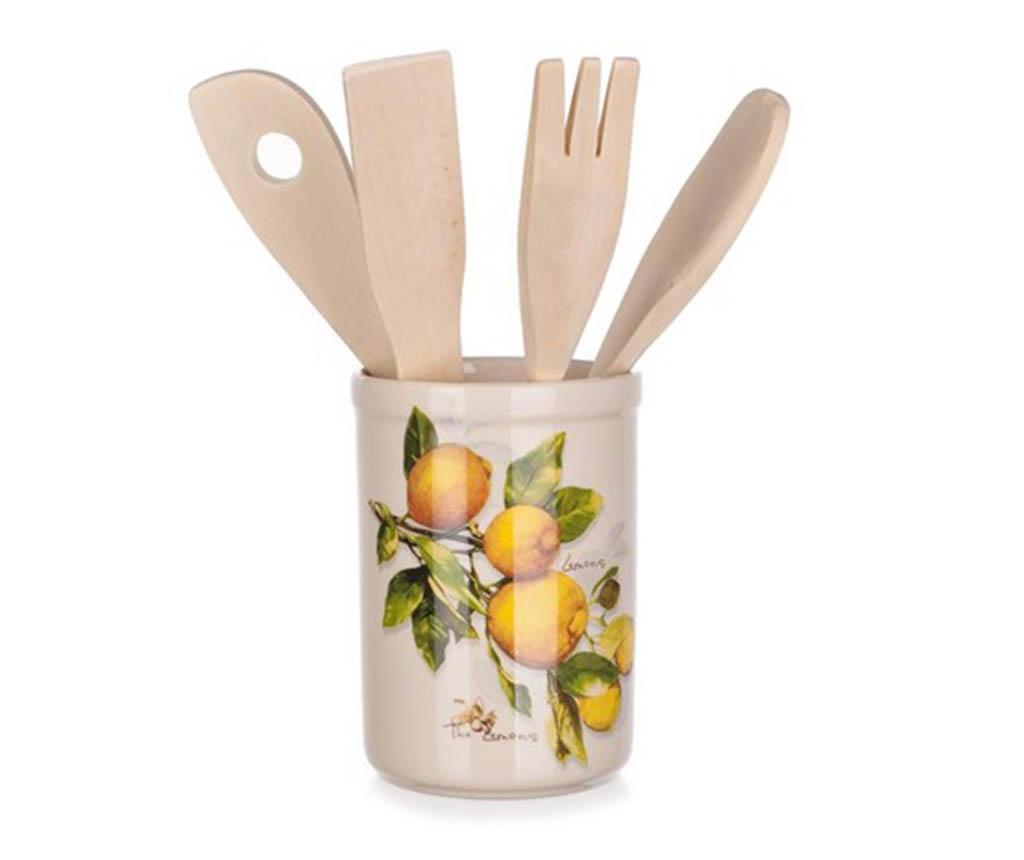 Set 4 ustensile de bucatarie si suport Lemon