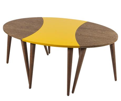 Set 3 masute Oval Brown Yellow