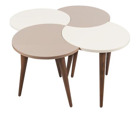 Set 4 masute Oval Cream White