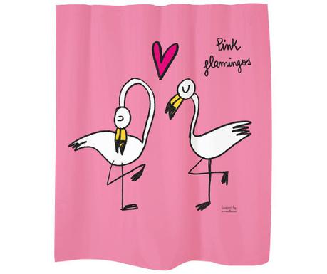 Perdea de dus Flamingos on Pink 180x200 cm