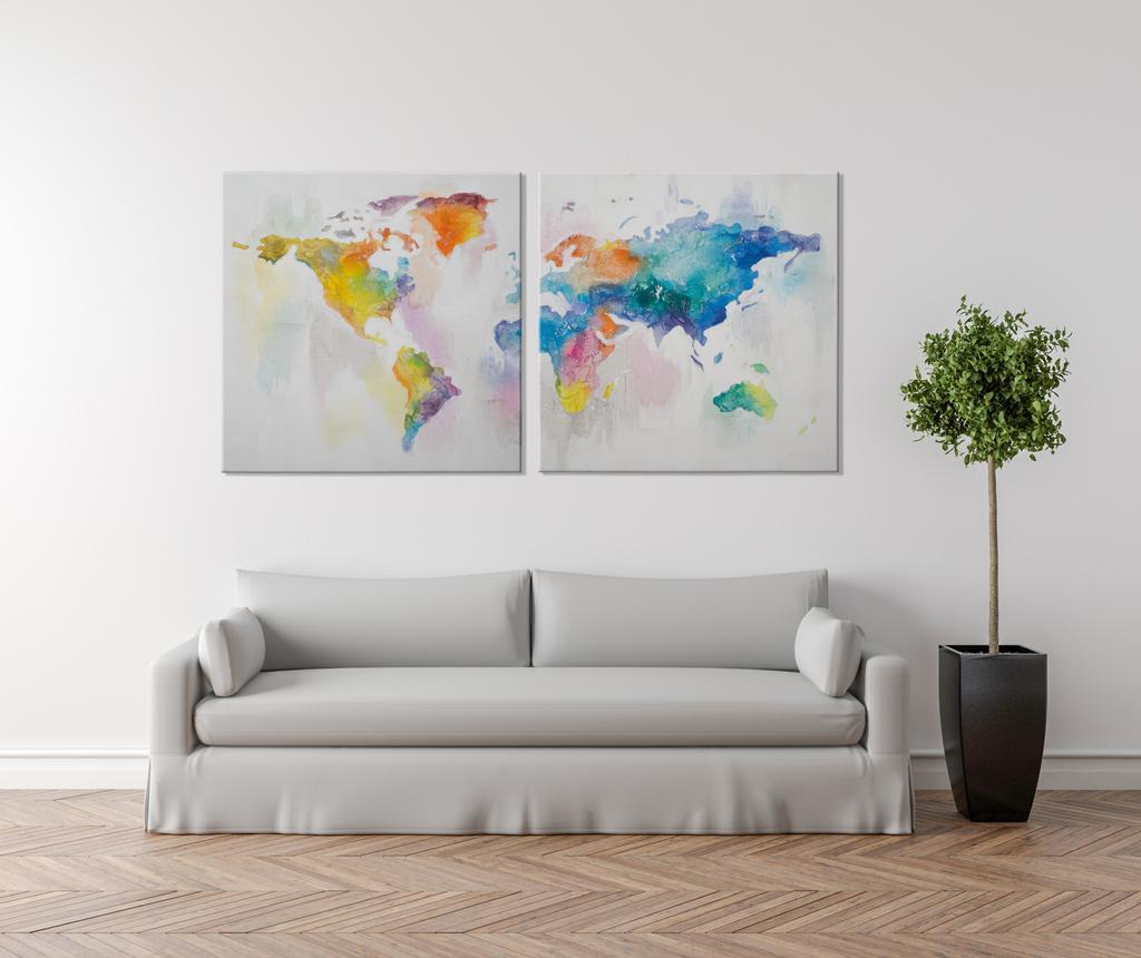 Set 2 tablouri Mad World 100x100 cm