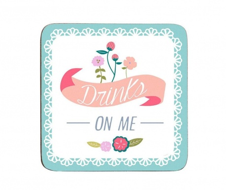 Set of 4 coasters Drinks on Me