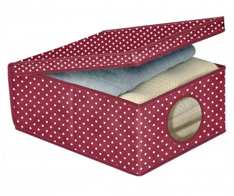 Storage box with cover Dots Bordeaux