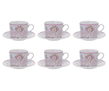 Romantic Roses 6 db teás csésze és 6 kistányér