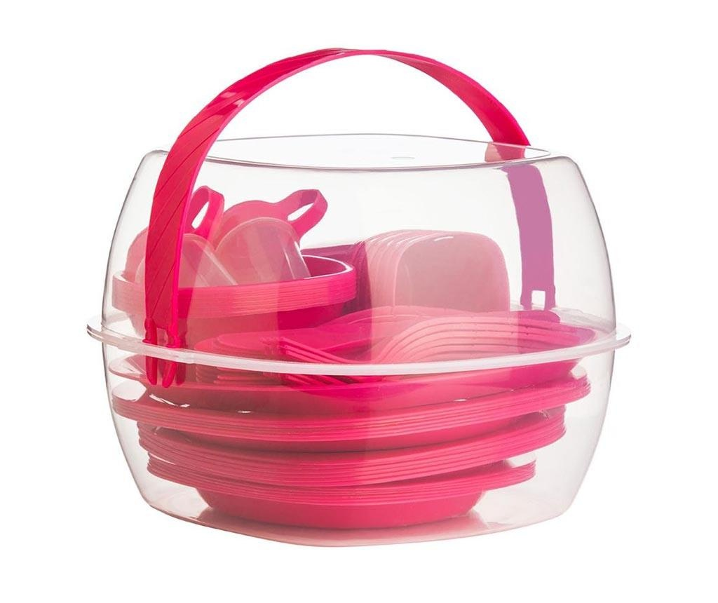 Fines Pink 52 darabos Piknikező készlet