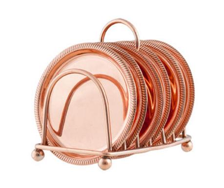 Set 6 coastere si suport Copper