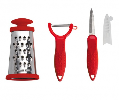 Sada nůž na loupání, škrabka na zeleninu a struhadlo Ruby