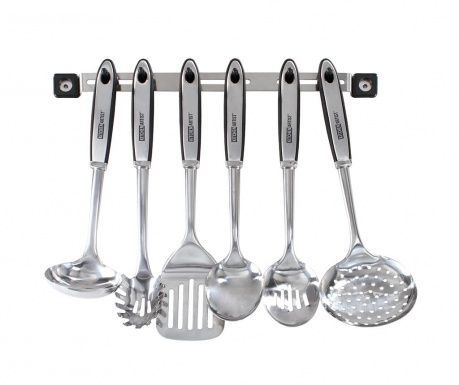 Set 6 ustensile de bucatarie si suport Silvery
