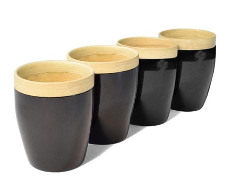 Set 4 čaše Bamboo Life Black 300 ml