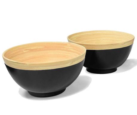Set 2 zdjele Bamboo Life Black 400 ml