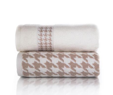Zestaw 2 ręczników kąpielowych Coxy Light Brown 50x90 cm