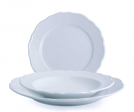 Set of 18 tableware pieces Sonia Light Grey