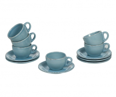 Set 6 skodelic in 6 krožničkov Amelie Blue