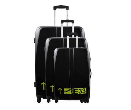 Gate Noir 3 db Gurulós bőrönd
