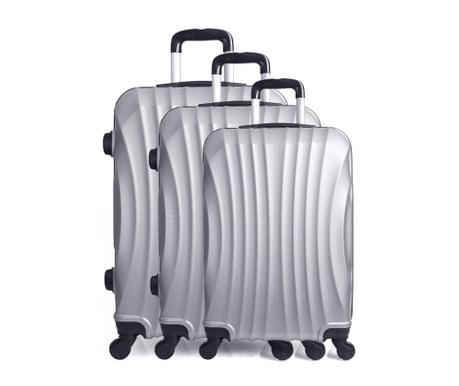 Moscou Silver 3 db Gurulós  bőrönd