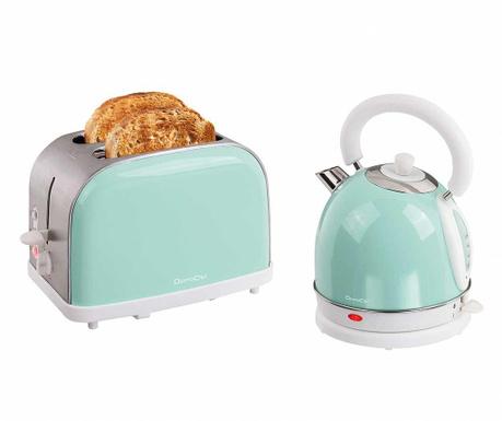 Set toster i električno kuhalo Vintage Breakfast Mint