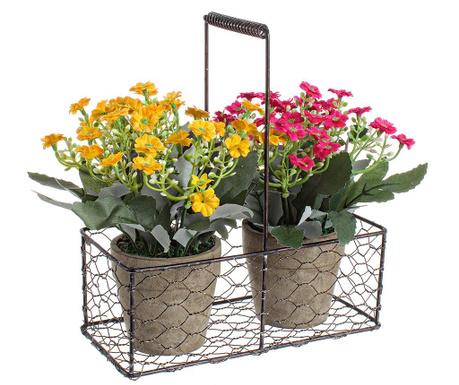 Zestaw 2 doniczek ze sztucznymi kwiatami i stojakiem Amber Adoration