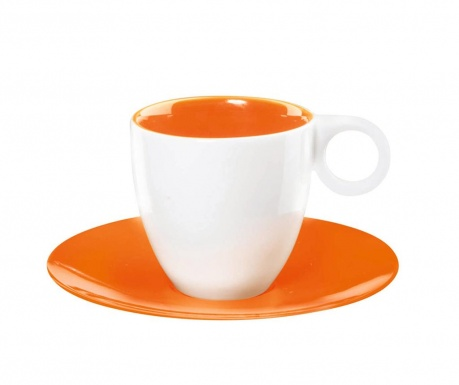 Set 6 cesti si 6 farfurioare Colour It Espresso Orange