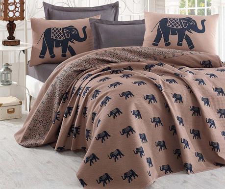Komplet pościeli Single Pique Elephant Brown Dark Blue