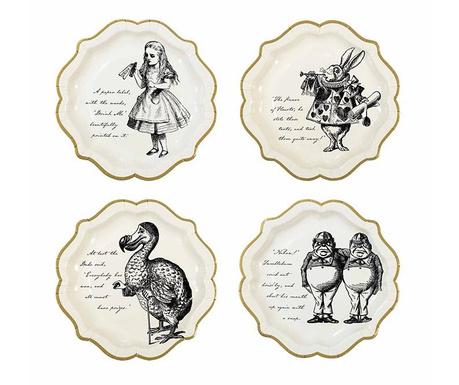 Set 12 krožnikov za enkratno uporabo Lost Alice