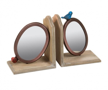 Set of 2 book holders with mirror Little Birds
