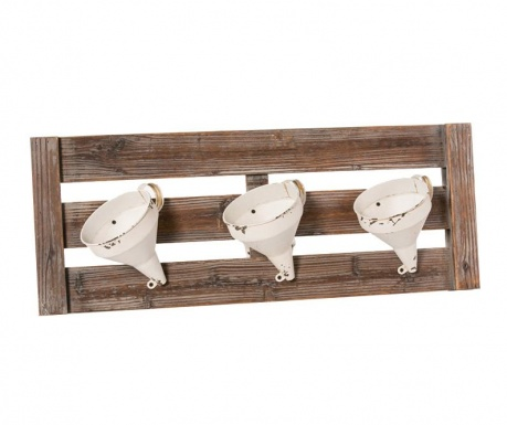 Set of 3 flowers pots with wall holder Rusty