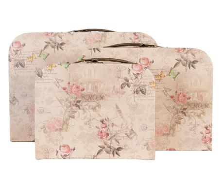 Sada 3 dekoračných kufrov Roses