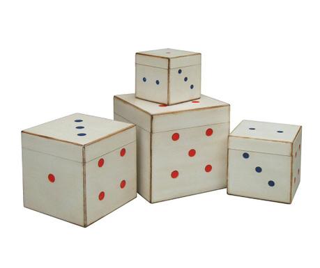 Sada 4 krabic s víkem Vintage Dice