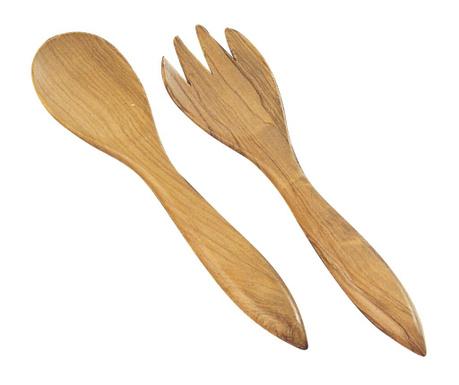 Set of 2 salad utensils Natural