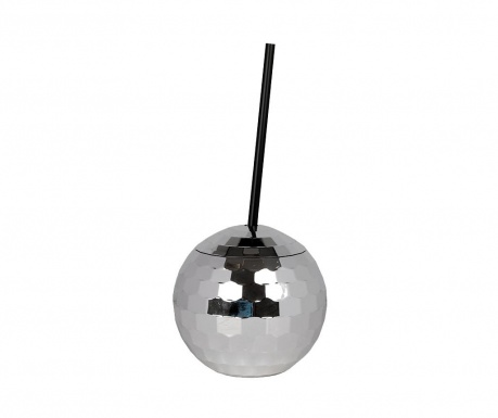 Glass with lid and straw Disco Ball Silver