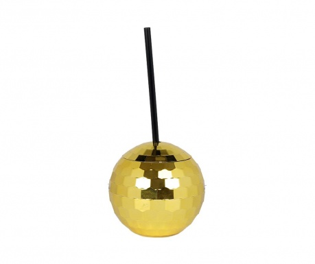Glass with lid and straw Disco Ball Gold