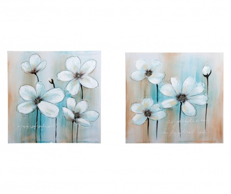 Set 2 tablouri Blue Background 80x80 cm