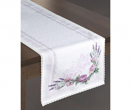 Traversa de masa Rosalie White Purple 40x140 cm