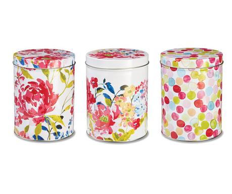 Set 3 recipiente cu capac Floral Romance