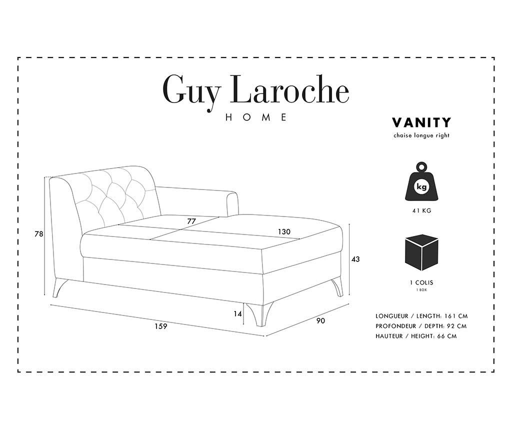 Lehátko do obýváku pravostranné Vanity Grey