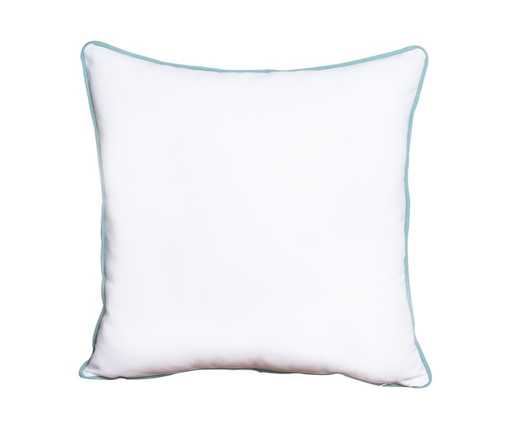 Perna decorativa Crissya Square White and Turquoise 45x45 cm