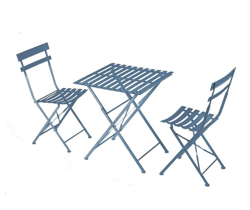 Set masa si 2 scaune pliabile pentru exterior Cristine Blue