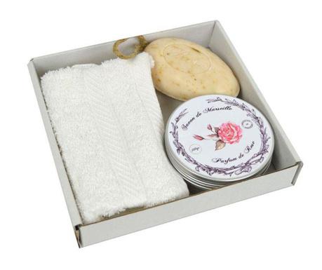 Комплект кърпа за баня и 2 сапуна De Marseille Rose