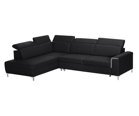 Разтегателен ляв ъглов диван Serafino Black and Grey