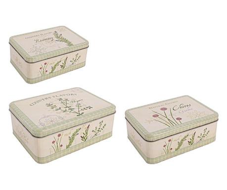 Zestaw 3 pudełek z pokrywką Essenza