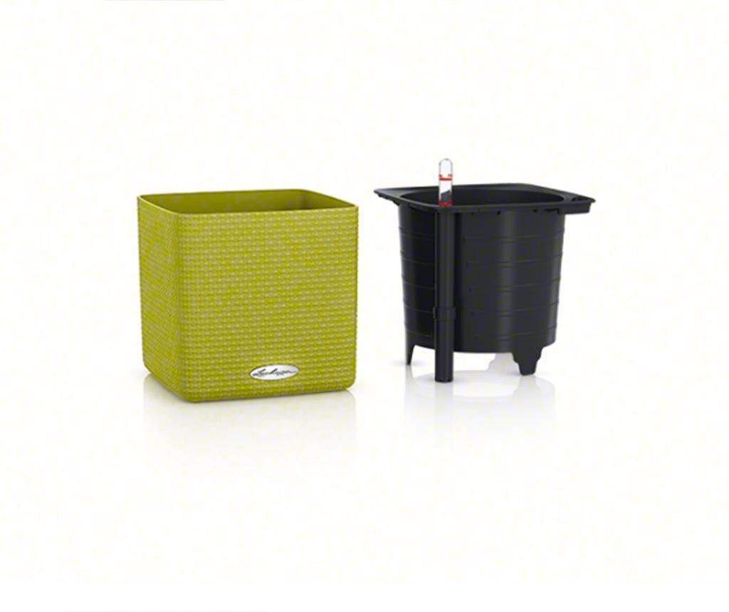Set ghiveci cu sistem autoirigare si suport Cube Color Lime Green