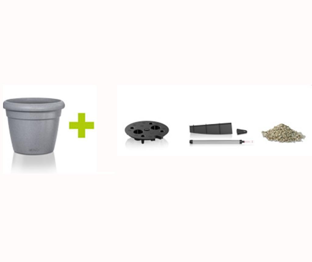 Set ghiveci cu sistem autoirigare si suport Rustico Stone Grey S