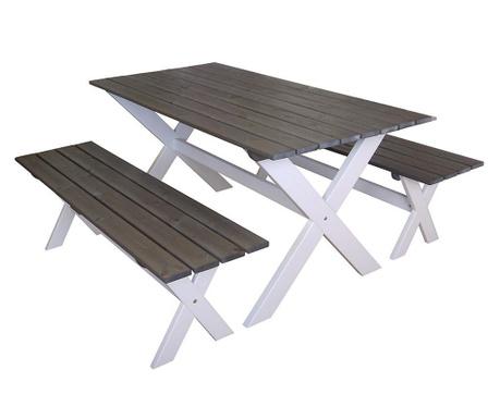 Sada venkovní stůl a 2 lavice Natural
