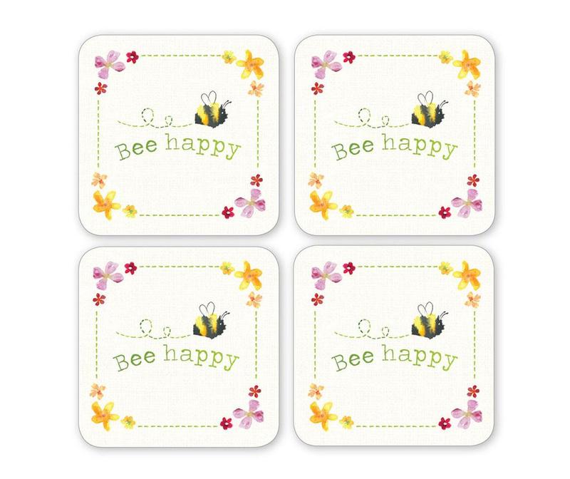 Set 4 coastere Bee Happy