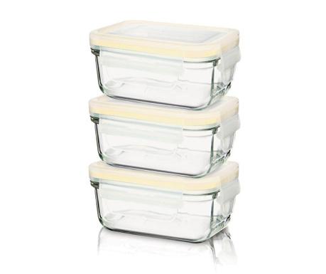 Set 3 zdjele s hermetičkim poklopcem Yum Yum Baby Rectangular Yellow 150 ml