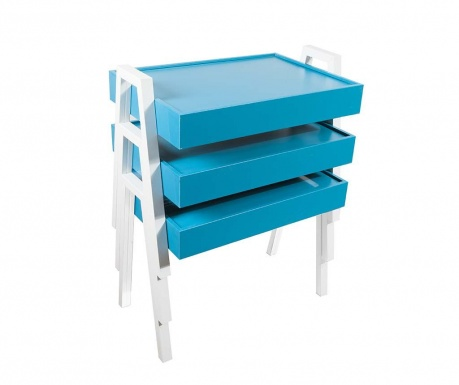 Set 3 masute  modulare Nesting Blue and White