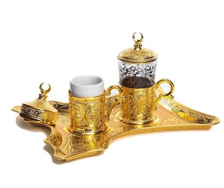 Merve Gold 5 darabos Kávéskészlet