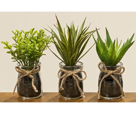 Zestaw 3 sztucznych roślin w doniczce Runda