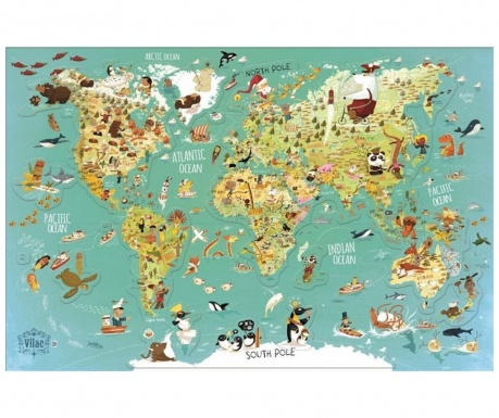 Puzzle magnetic 78 piese World Map